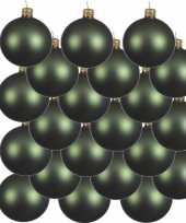 18x donkergroene kerstballen 8 cm matte glas kerstversiering
