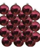 18x fuchsia roze kerstballen 8 cm glanzende glas kerstversiering