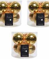 18x gouden glazen kerstballen 8 cm glans en mat