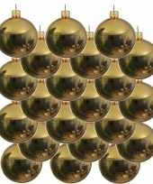 18x gouden kerstballen 8 cm glanzende glas kerstversiering