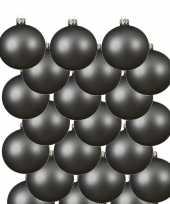 18x grijsblauwe kerstballen 6 cm matte glas kerstversiering