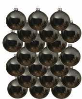 18x grijsblauwe kerstballen 8 cm glanzende glas kerstversiering