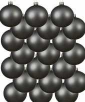 18x grijsblauwe kerstballen 8 cm matte glas kerstversiering