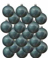 18x ijsblauwe kerstballen 8 cm glanzende glas kerstversiering