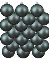 18x ijsblauwe kerstballen 8 cm matte glas kerstversiering