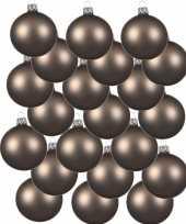18x kasjmier bruine kerstballen 8 cm matte glas kerstversiering