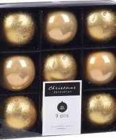 18x kerstboomversiering luxe kunststof kerstballen goud 5 cm