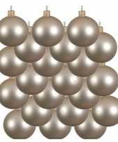 18x licht parel champagne kerstballen 8 cm matte glas kerstversiering