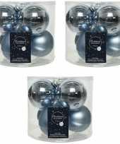 18x lichtblauwe glazen kerstballen 8 cm glans en mat