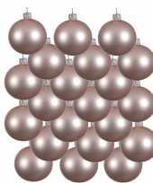 18x lichtroze kerstballen 8 cm matte glas kerstversiering