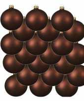18x mahonie bruine kerstballen 6 cm matte glas kerstversiering