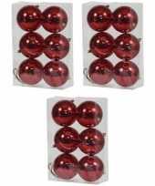 18x rode kerstballen 10 cm glanzende kunststof plastic kerstversiering