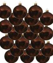 18x roodbruine kerstballen 6 cm glanzende glas kerstversiering