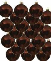 18x roodbruine kerstballen 8 cm glanzende glas kerstversiering