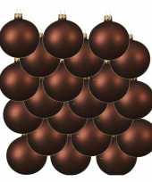 18x roodbruine kerstballen 8 cm matte glas kerstversiering