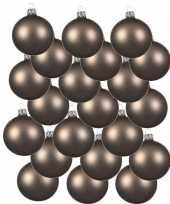 18x sjmier bruine kerstballen 6 cm matte glas kerstversiering