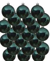 18x turkoois blauwe kerstballen 8 cm glanzende glas kerstversiering