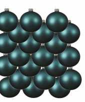 18x turquoise blauwe kerstballen 6 cm matte glas kerstversiering
