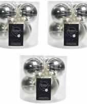 18x zilveren glazen kerstballen 8 cm glans en mat