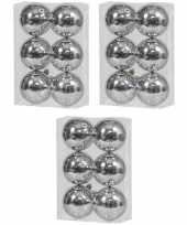 18x zilveren kerstballen 10 cm glanzende kunststof plastic kerstversiering