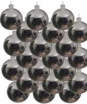 18x zilveren kerstballen 6 cm glanzende glas kerstversiering