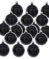 18x zwarte kerstballen 6 cm glanzende glas kerstversiering