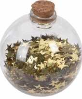 1x doorzichtige fles kerstballen 8 cm sterretjes goud kunststof kerstversiering