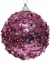 1x fuchsia roze kerstballen 8 cm met folie strookjes kunststof kerstversiering