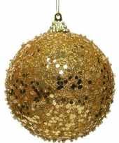 1x gouden kerstballen 8 cm glitters glimmers kunststof kerstversiering