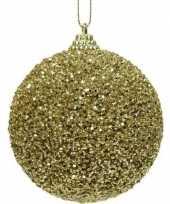 1x gouden kerstballen 8 cm glitters kraaltjes kunststof kerstversiering