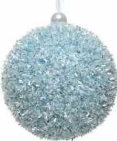 1x ijsblauwe kerstballen 8 cm glitters sneeuwballen kunststof kerstversiering