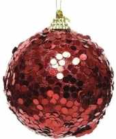 1x kerst rode kerstballen 8 cm glitters confetti kunststof kerstversiering