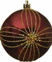 1x kerst rode kerstballen 8 cm goud glitter patroon kunststof kerstversiering 10138519