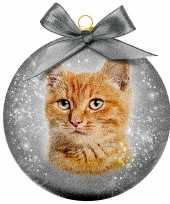 1x kunststof dieren kerstballen met rode kat poes 8 cm