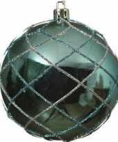 1x turquoise blauwe kerstballen 8 cm zilver glitter patroon kunststof kerstversiering