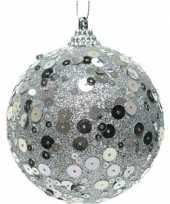 1x zilveren disco kerstballen 8 cm glitters pailletjes kunststof kerstversiering