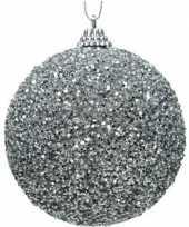 1x zilveren kerstballen 8 cm glitters kraaltjes kunststof kerstversiering