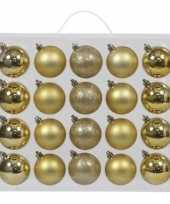 20x gouden kerstballen 6 cm glanzende matte kunststof plastic kerstversiering