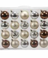 20x herfst kleuren kerstballen 6 cm glanzende matte kunststof plastic kerstversiering