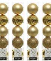 20x licht gouden kerstballen 8 cm glanzende matte glitter kunststof plastic kerstversiering