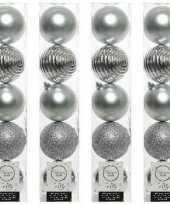 20x zilveren kerstballen 8 cm glanzende matte glitter kunststof plastic kerstversiering