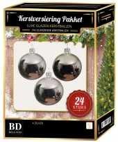 24 stuks glans glazen kerstballen pakket zilver 6 en 8 cm