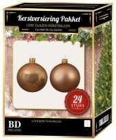 24 stuks glazen kerstballen pakket donker champagne 6 cm