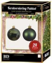 24 stuks glazen kerstballen pakket donkergroen 6 cm