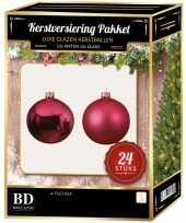 24 stuks glazen kerstballen pakket fuchsia roze 6 cm