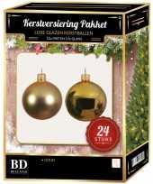 24 stuks glazen kerstballen pakket goud 6 cm