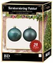 24 stuks glazen kerstballen pakket ijsblauw 6 cm