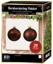 24 stuks glazen kerstballen pakket mahonie bruin 6 cm