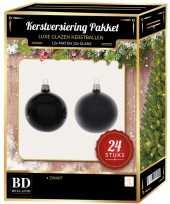 24 stuks glazen kerstballen pakket zwart 6 cm