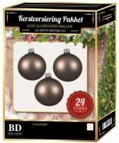 24 stuks mat glazen kerstballen pakket kasjmier bruin 6 en 8 cm